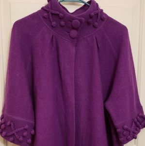 Purple Poncho Style Sweater